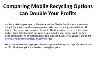 Comparing Mobile Recycling Options can Double Your Profits