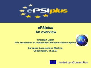 ePSI plus  An overview