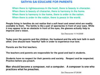 SATHYA SAI EDUCARE FOR PARENTS