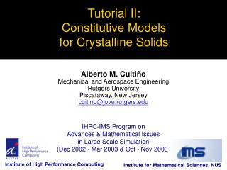 Tutorial II: Constitutive Models  for Crystalline Solids