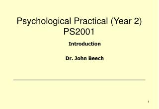 Psychological Practical (Year 2) PS2001