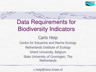 Data Requirements for Biodiversity Indicators