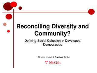 Reconciling Diversity and Community?