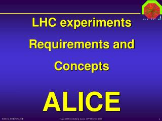 LHC experiments Requirements and Concepts ALICE