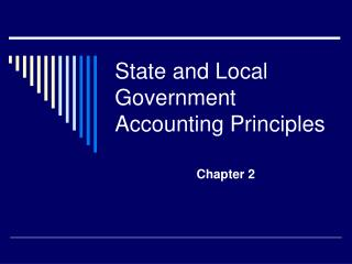 State and Local Government Accounting Principles