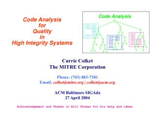 Code Analysis  for  Quality  in  High Integrity Systems