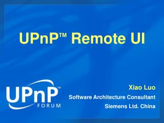 UPnP TM  Remote UI