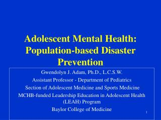 Adolescent Mental Health: Population-based Disaster Prevention