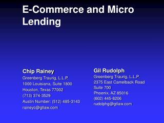 E-Commerce and Micro Lending