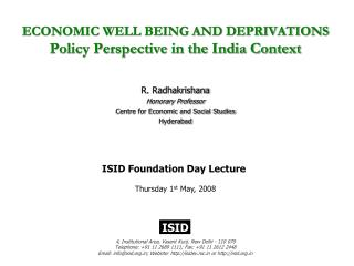 ECONOMIC WELL BEING AND DEPRIVATIONS  Policy Perspective in the India Context
