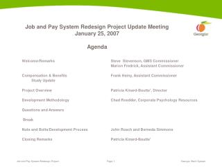 Job and Pay System Redesign Project Update Meeting January 25, 2007  Agenda