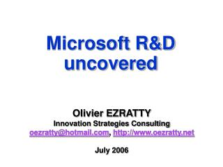 Microsoft R&D uncovered