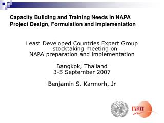 Capacity Building and Training Needs in NAPA Project Design, Formulation and Implementation