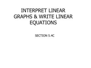 INTERPRET LINEAR GRAPHS  WRITE LINEAR EQUATIONS