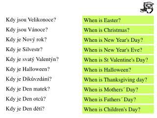 Kdy jsou Velikonoce? Kdy jsou Vánoce? Kdy je Nový rok? Kdy je Silvestr? Kdy je svatý Valentýn?