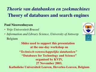 Theorie van databanken en zoekmachines Theory of databases and search engines