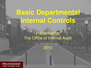 Basic Departmental Internal Controls