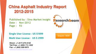China Asphalt Market Size, Share, Study, forecast 2012-2015