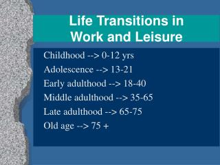 Life Transitions in  Work and Leisure
