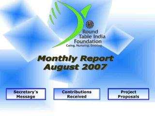 Monthly Report August 2007