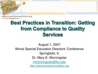 Best Practices in Transition: Getting from Compliance to Quality Services