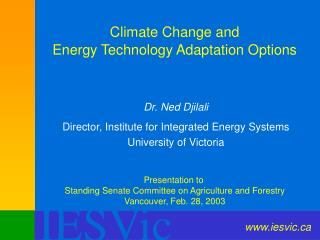 Climate Change and  Energy Technology Adaptation Options