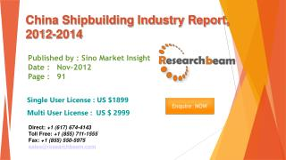 China Shipbuilding Market Size, Share, forecast 2012-2014