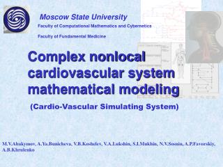 Complex nonlocal cardiovascular system mathematical modeling