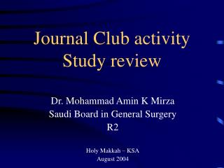 Journal Club activity  Study review