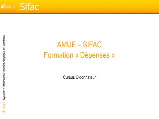 AMUE – SIFAC Formation « Dépenses »