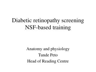 Diabetic retinopathy screening  NSF-based training