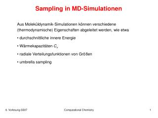 Sampling in MD-Simulationen