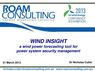 WIND  INSIGHT a  wind power forecasting tool for  power  system security management