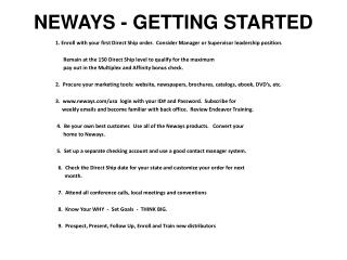 Neways -  GETTING STARTED