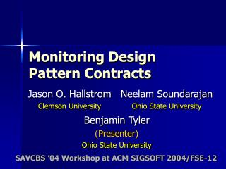 Monitoring Design Pattern Contracts