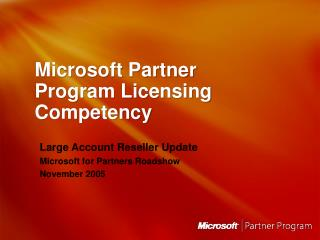 Microsoft Partner Program Licensing Competency