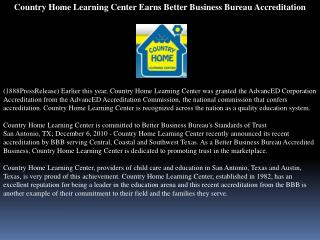 Country Home Learning Center Earns Better Business Bureau Ac