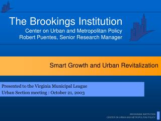 Smart Growth and Urban Revitalization