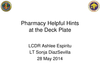 Pharmacy Helpful H ints at the Deck P late