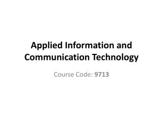 Applied Information and Communication Technology