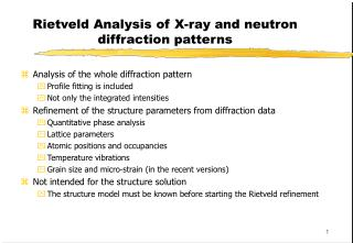 Rietveld Analysis of X-ray and neutron diffraction patterns