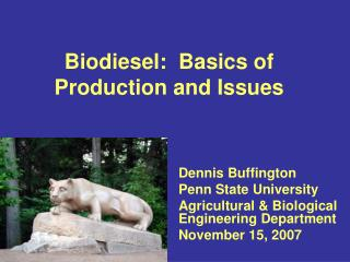 Biodiesel:  Basics of Production and Issues