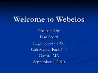 Welcome to Webelos