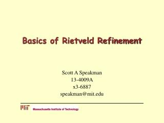 Basics of Rietveld Refinement