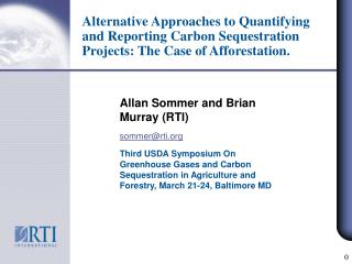Allan Sommer and Brian Murray (RTI) sommer@rti