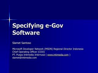 Specifying e-Gov Software