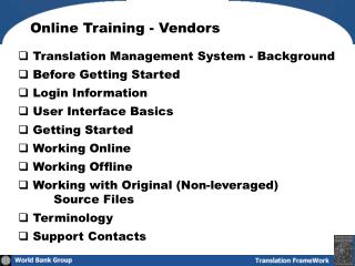 Online Training - Vendors