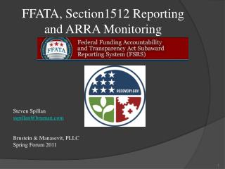 FFATA, Section1512 Reporting and ARRA Monitoring
