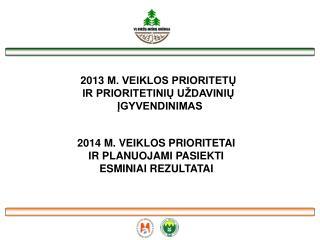 2013  M. VEIKLOS PRIORITETŲ  IR PRIORITETINIŲ UŽDAVINIŲ  ĮGYVENDINIMAS