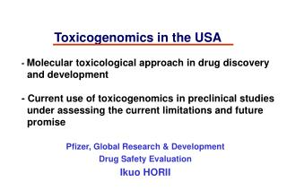 Toxicogenomics in the USA